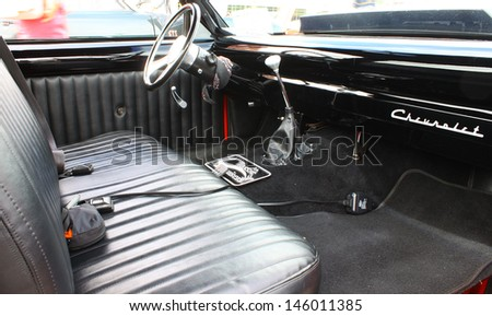 GLOUCESTER, VA- JULY 13: A Custom Chevy S-10 P/U interior in the (middle peninsula car club) blast from the past car show at the Main St shopping center in Gloucester, Virginia on July 13, 2013 - stock photo