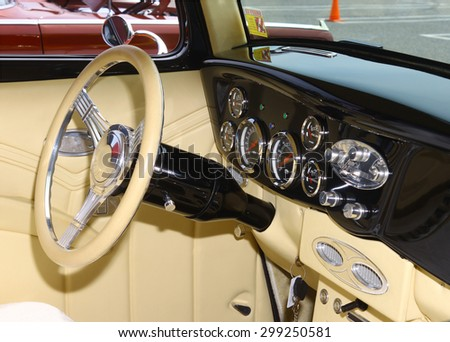 GLOUCESTER, VA- JULY 19: A 1933 Ford interior at the 2015 Middle Peninsula Classic Car Club blast from the past car show in Gloucester Virginia  - stock photo