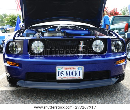 GLOUCESTER, VA- JULY 19: A 2005 Mach-1 Ford Mustang at the 2015 Middle Peninsula Classic Car Club blast from the past car show in Gloucester Virginia - stock photo