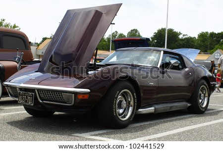 GLOUCESTER, VA- MAY 12:A Corvette at the relay for life car shows sponsored by Auto Max & the MPCC at the Main St shopping center in Gloucester Virginia, 2012 in Gloucester Virginia on May 12, 2012. - stock photo