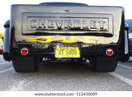 GLOUCESTER, VA- OCTOBER 12:A vintage black pickup tailgate at the 29th Annual 2012 MPCC(middle peninsula car club)meeting at the Main St shopping center in Gloucester, Virginia on October 12, 2012 - stock photo
