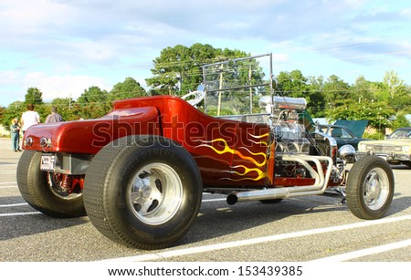GLOUCESTER, VA- SEPTEMBER 6: An old T Bucket in the 23rd Annual 2013 MPCC(middle peninsula car club)meeting at the Main St shopping center in Gloucester, Virginia on September 6, 2013 - stock photo