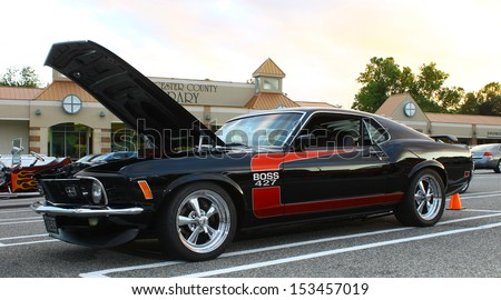 GLOUCESTER, VA- SEPTEMBER 6: Vintage 1970 Boss 427 Mustang in the 23rd Annual 2013 MPCC(middle peninsula car club)meeting at the Main St shopping center in Gloucester, Virginia on September 6, 2013  - stock photo