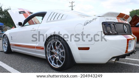 GLOUCESTER, VIRGINIA - JULY 12, 2014:A Shelby signature series Cobra Mustang in the Blast from the PAST CAR SHOW,The Blast From the Past car show is held once each year in July in Gloucester Virginia. - stock photo