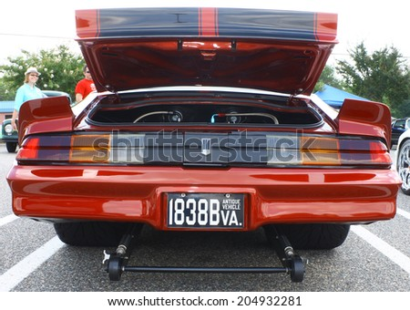 GLOUCESTER, VIRGINIA - JULY 12, 2014: Back of a Blown 1979 Chevy Camaaro in the Blast from the PAST CAR SHOW,The Blast From the Past car show is held once each year in July in Gloucester Virginia. - stock photo