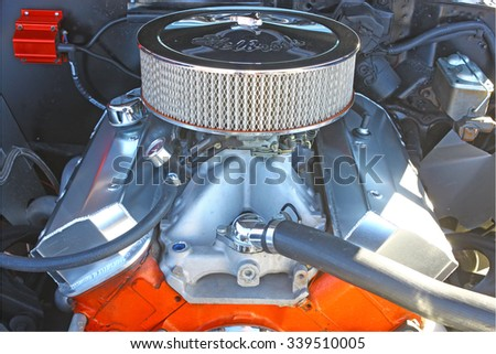 GLOUCESTER, VIRGINIA - NOVEMBER 14, 2015: A Chevrolet Big Block motor in the annual Shop With a Cop Car Show held once each year to help benefit needy children of Gloucester for Christmas.  - stock photo