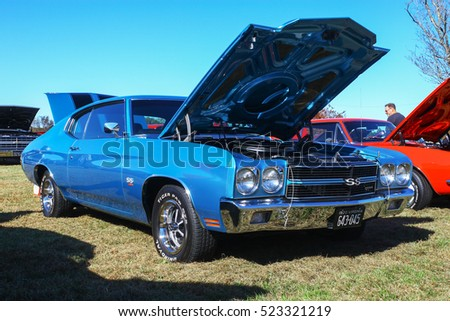 GLOUCESTER, VIRGINIA - NOVEMBER 12, 2016: A 1970 Chevrolet Chevelle SS 454 in the annual Shop With a Cop Car Show held once each year to help benefit needy children of Gloucester for Christmas