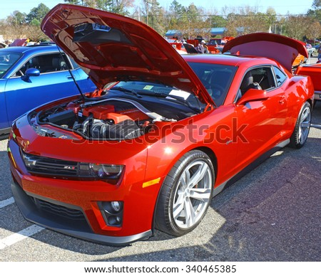 GLOUCESTER, VIRGINIA - NOVEMBER 14, 2015: A Chevy Camaro ZL1 in the annual Shop With a Cop Car Show held once each year to help benefit needy children of Gloucester for Christmas.   - stock photo