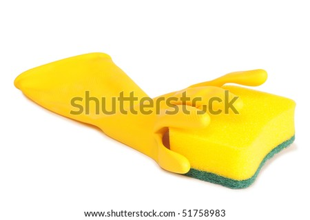 Glove and sponge. Isolated
