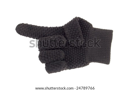 glove with bristling forefinger. cutout