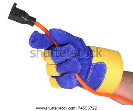 gloved hand holding a female grounded insulated extension cord isolated over a white background