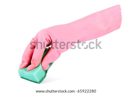 Gloved hand holding a kitchen sponge isolated on a white background - stock photo