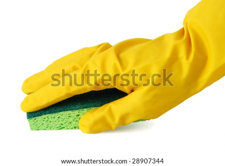 Gloved hand with a green sponge