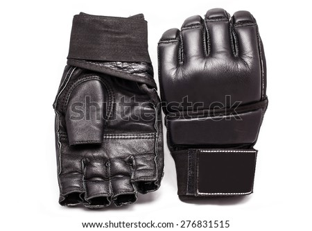 Gloves for MMA Chorny leather on a white background - stock photo