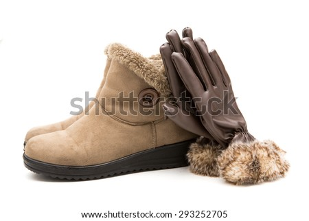 Gloves, suede and leather shoes for women isolated on white background. - stock photo