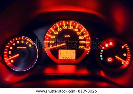 Glow car dashboard - stock photo