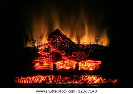Glow from an electric fireplace. - stock photo