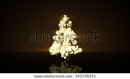 glow gold christmas tree shape. Computer generated festive illustration  - stock photo
