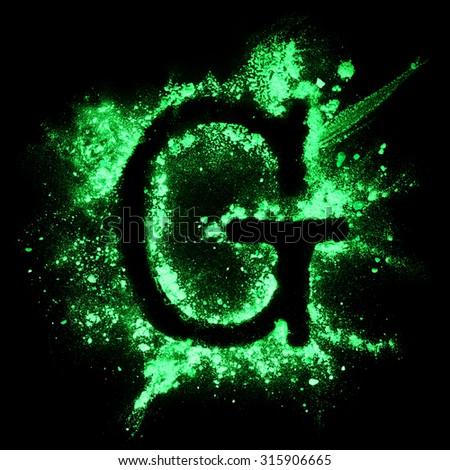 Glow in the dark grunge alphabet - stock photo