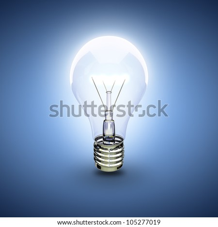 glow light bulb on a blue background - stock photo