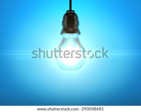 glow light bulb on blue background - stock photo