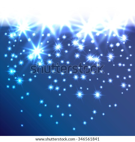 Glow snowflakes or stars fall down as curtain. Decorative background for holiday invitations, cards or web banner. A smooth transition from white. It can be used as a border. Raster version - stock photo