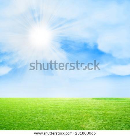 glow solar sky on beautiful meadow - stock photo