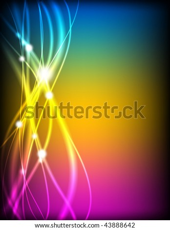 Glowing abstract wave lines background in rainbow colors. - stock photo