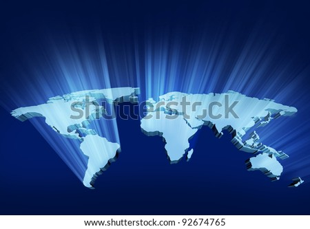 Glowing and shining 3D Wold Map with USA Europe Africa the Americas and Asia as an international symbol of global communications and intercontinental business illustration of an earth model. - stock photo