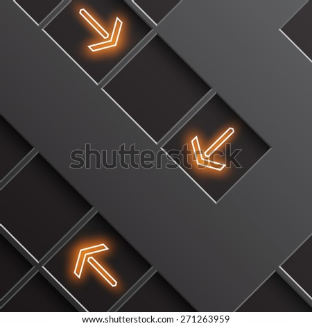 glowing arrows indicate the direction - stock photo