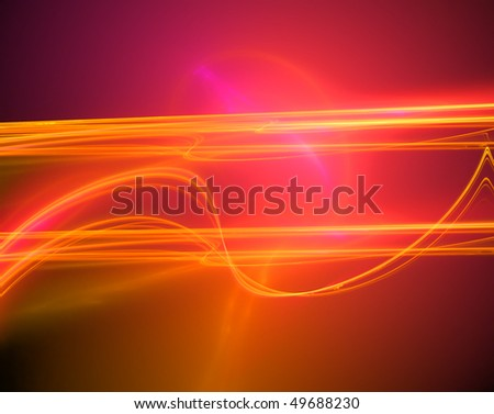 Glowing background abstract design with bright orange, red and yellow lines, curves and bursts of light. - stock photo
