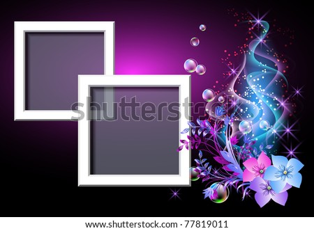 Glowing background with flowers and smoke for inserting text and photo. Raster version of vector. - stock photo