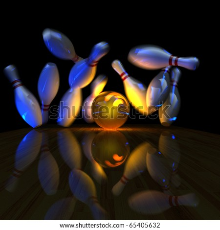 Glowing ball does strike! Physically correct simulation of swirling strike in bowling with the real 3D motion blur on. Night lighting effect - stock photo