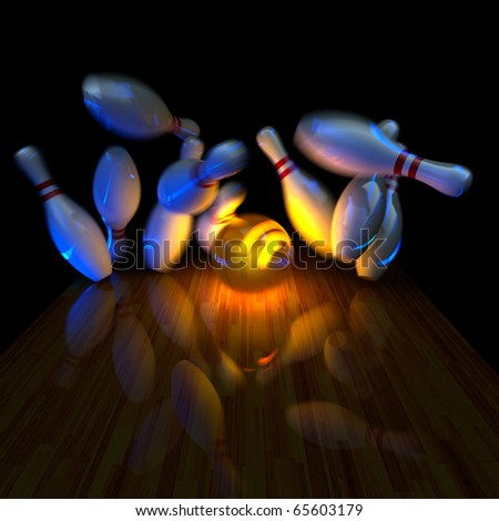 Glowing ball does strike! Physically correct simulation of swirling strike in bowling with the real 3D motion blur on. Night lighting effect