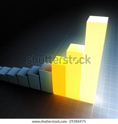 Glowing bar chart - stock photo
