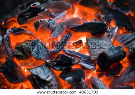 glowing bbq coal - stock photo