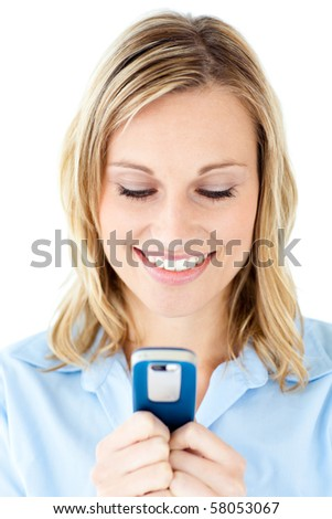 Glowing blond woman sending a text against white background - stock photo
