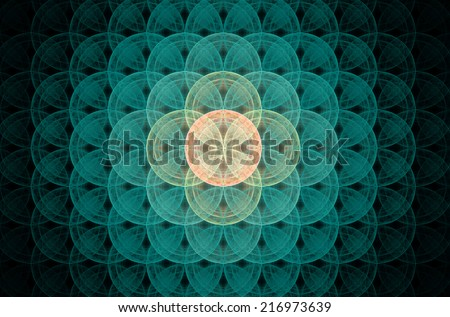 Glowing blue abstract fractal background with a detailed decorative flower of life pattern spreading from the center which is in shining orange and yellow colors, all against black color. - stock photo