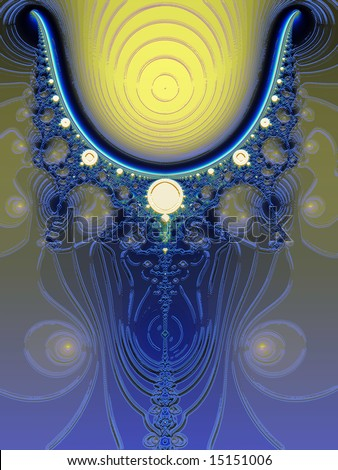 Glowing Blue and Yellow Fractal Design with Lighting Effects - stock photo