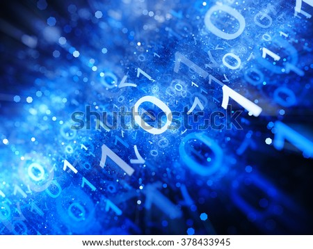 Glowing blue big data in space with particles, depth of field, binary code, computer generated abstract background - stock photo
