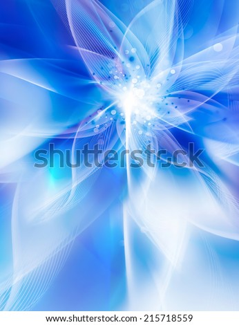 Glowing blue flower on a light background - stock photo