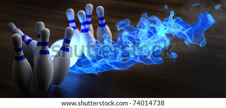glowing blue light bowling ball knocks down skittles. 3d illustration. - stock photo