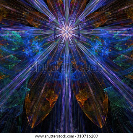 Glowing blue,purple,pink,orange exploding flower/star fractal background with a detailed decorative pattern, all in high resolution. - stock photo