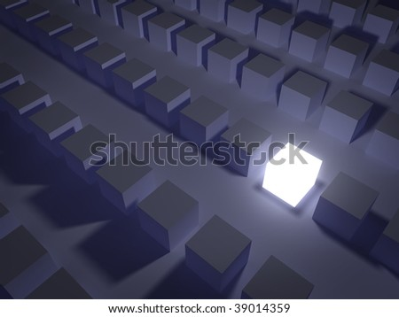 Glowing box standing out from the crowd. - stock photo