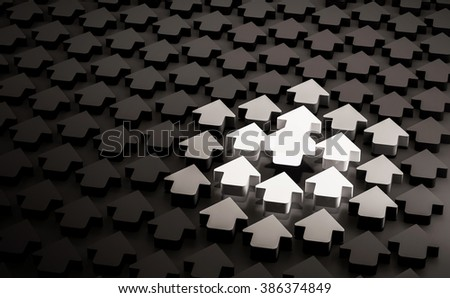 Glowing bright arrow with arrows around trying to glow following the leader one in group of black arrows, concept of development, leadership, and etc., 3d rendered - stock photo
