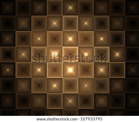 Glowing Brown Abstract Tiles Background - stock photo