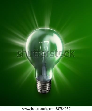 Glowing bulb -energy concept illustration - stock photo