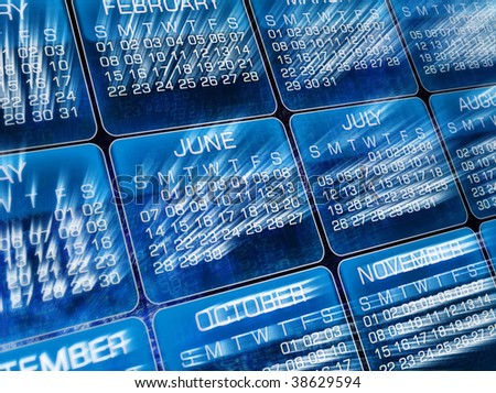 Glowing  Calendar, clip-art, background - stock photo