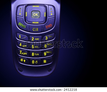 Glowing Cell Phone Keypad - stock photo