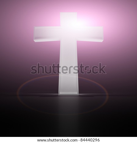 Glowing christian cross on the purple background - stock photo
